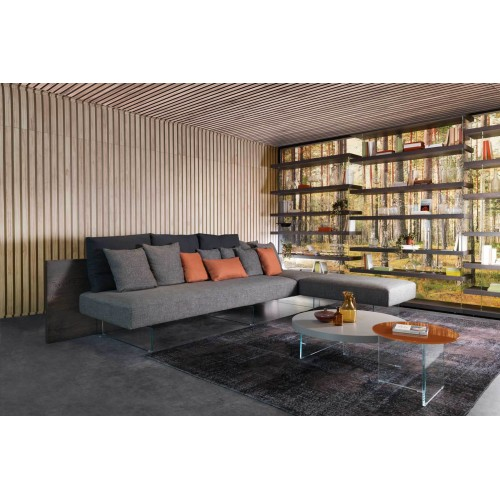 COFFEE TABLE AIR ROTONDO TOP VETRO DIAM. 90 H. 32,4- LAGO
