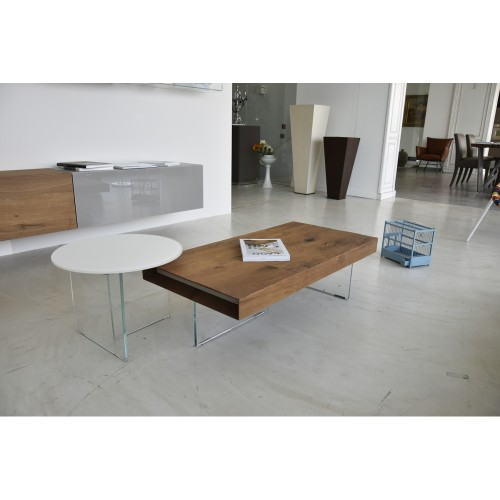 COFFEE TABLE AIR ROTONDO TOP VETRO DIAM. 120 H. 37,8 - LAGO