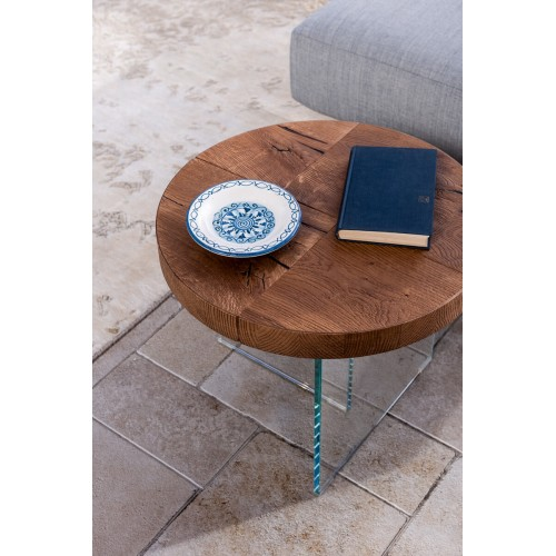 COFFEE TABLE AIR ROTONDO TOP WILDWOOD DIAM. 50  H. 41,4 - LAGO