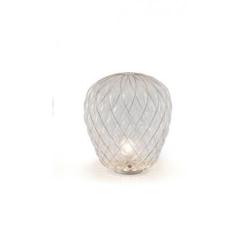 Lampada Da Taolo PINECONE 30 Vetro Bianco Gabbia Cromo - Fontana Arte
