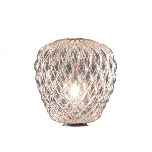 Lampada Da Tavolo  PINECONE 30 Vetro Tasp. Gabbia Oro- Fontana Arte