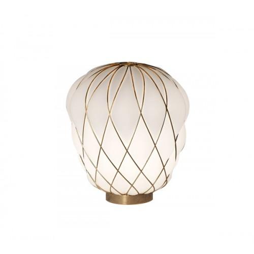 Lampada Da Tavolo  PINECONE 30 Vetro Bianco Gabbia Oro - Fontana Arte