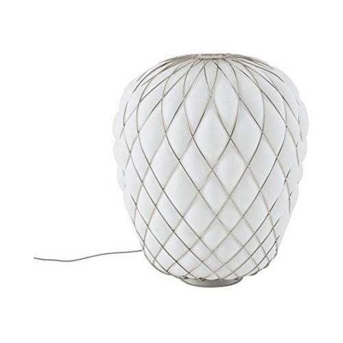 Lampada Da Tavolo PINECONE 50 Vetro Bianco Gabbia Cromo - Fontana Arte