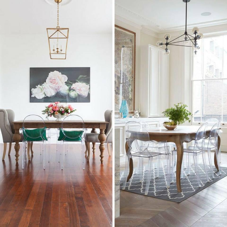 Sedie moderne Kartell e tavolo vintage: un mix di grande effetto!